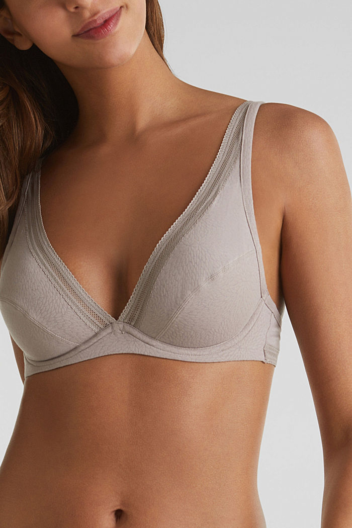 Unpadded underwire bra with a burnt-out pattern, TAUPE, detail image number 2