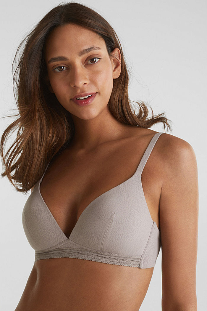 Padded, non-wired bra with a pattern, TAUPE, detail image number 0