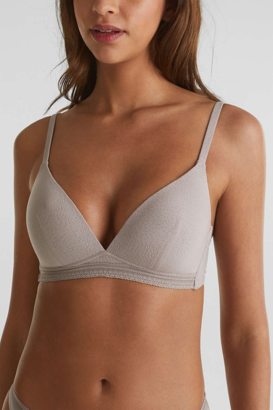 Padded, non-wired bra with a pattern, TAUPE, detail image number 2
