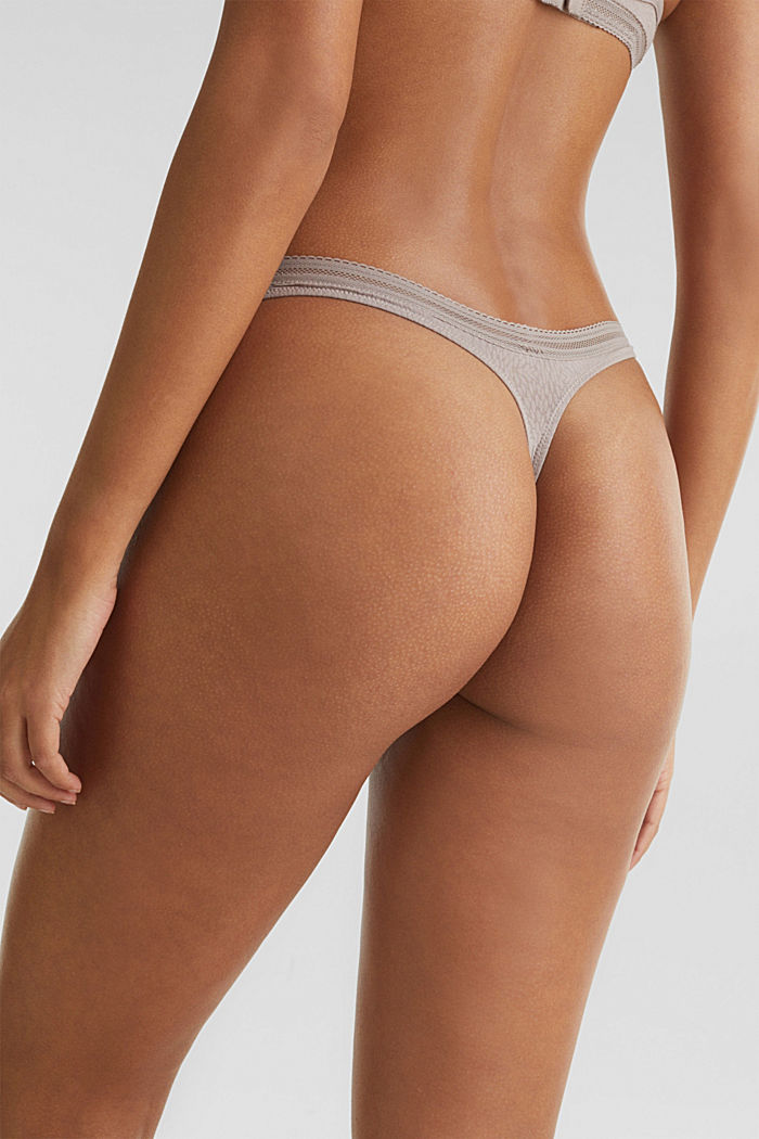Hipster thong with a burnt-out pattern, TAUPE, detail image number 2