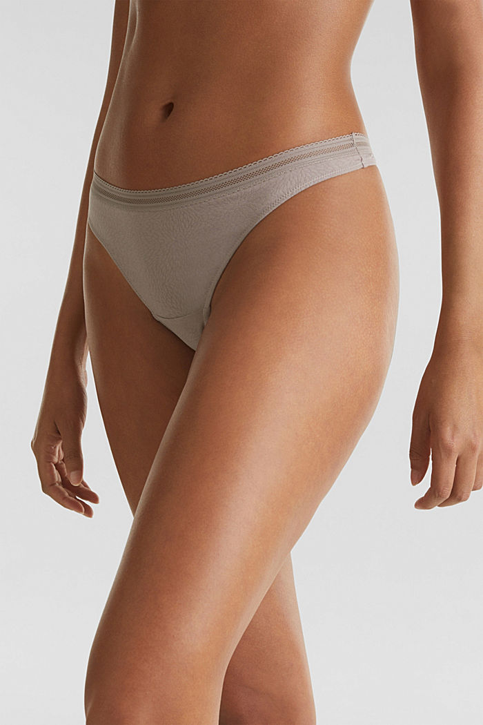 Hipster thong with a burnt-out pattern, TAUPE, detail image number 1