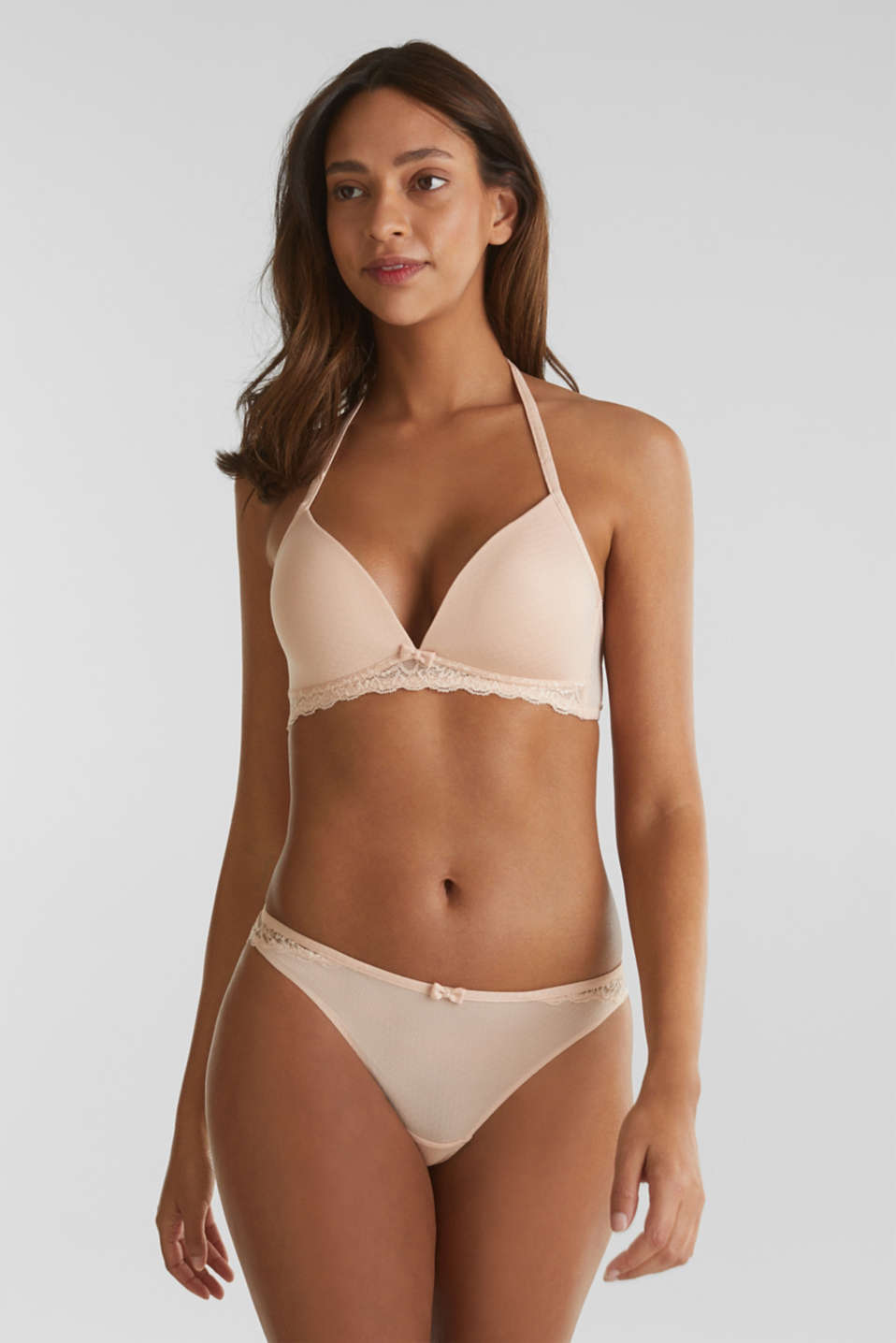 Padded non-wired bra with texture, NUDE, detail image number 2