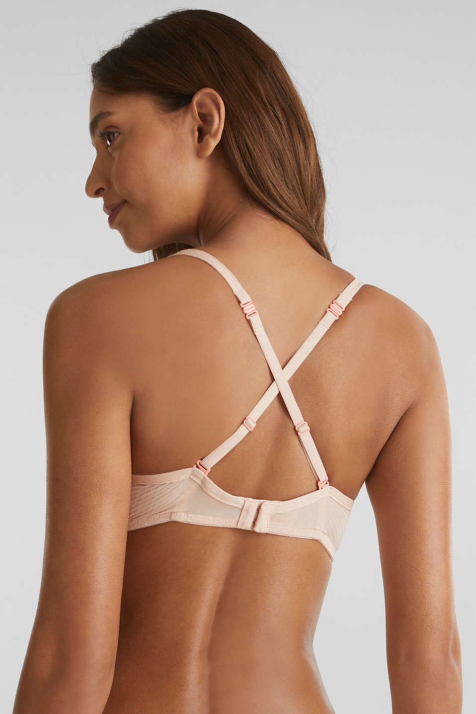 Padded non-wired bra with texture, NUDE, detail image number 5