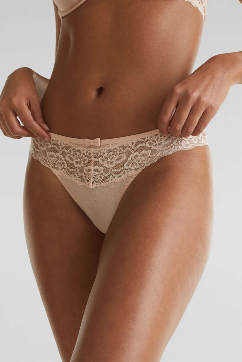 Hipster thong with a honeycomb texture, NUDE, detail image number 1