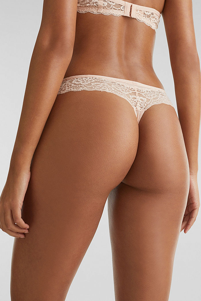 Hipster thong with a honeycomb texture, NUDE, detail image number 3