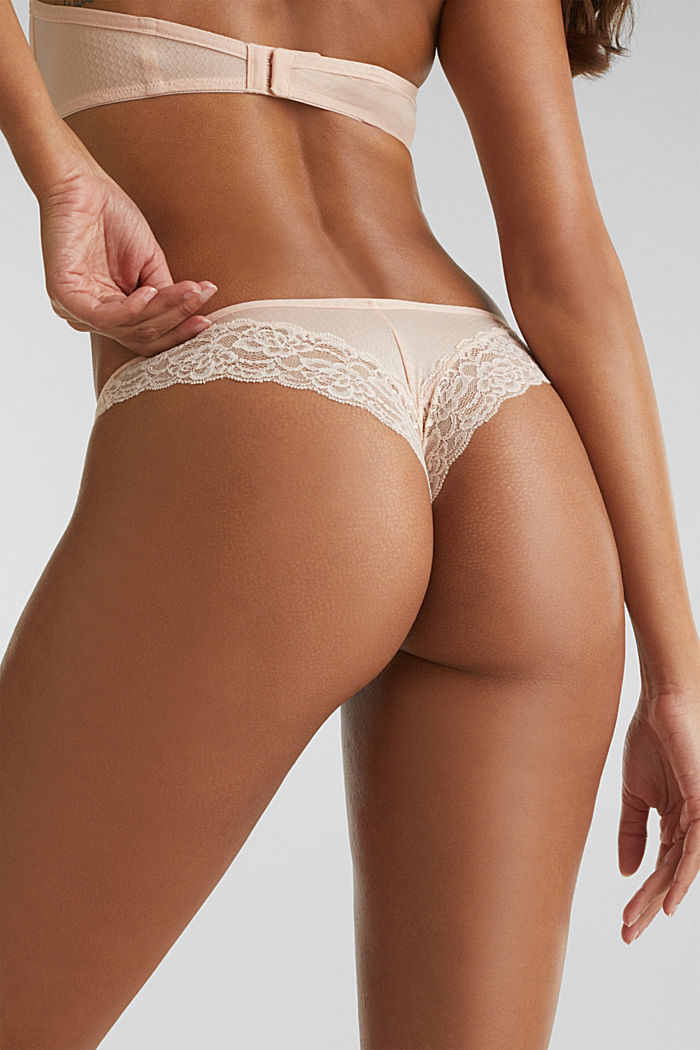 Brazilian briefs with a honeycomb texture, NUDE, detail image number 4