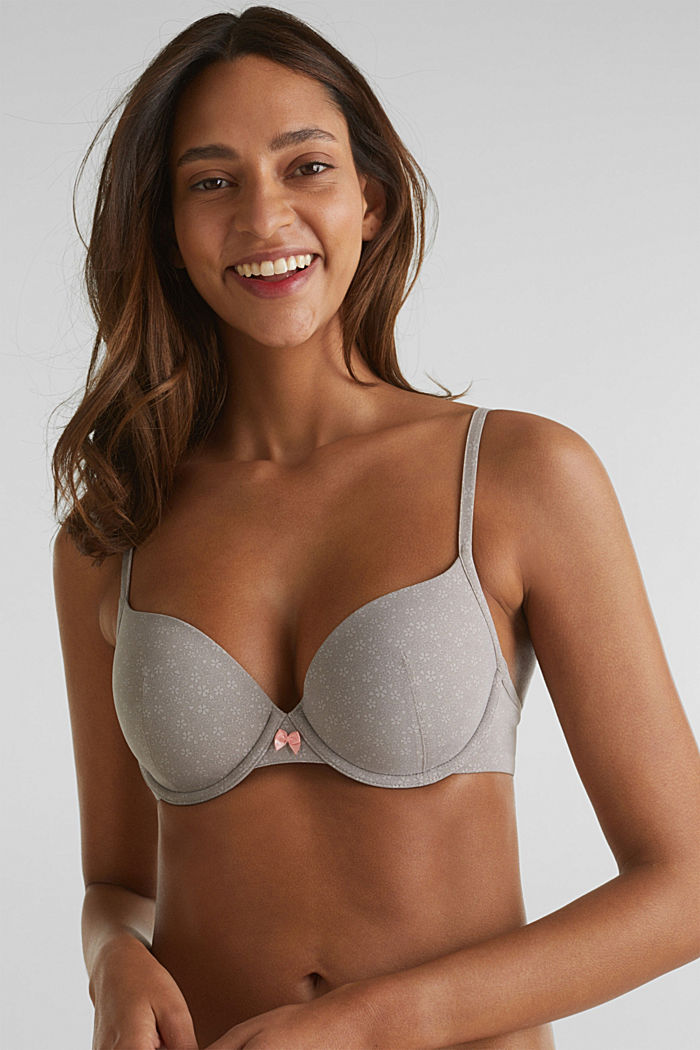 Padded underwire bra with print