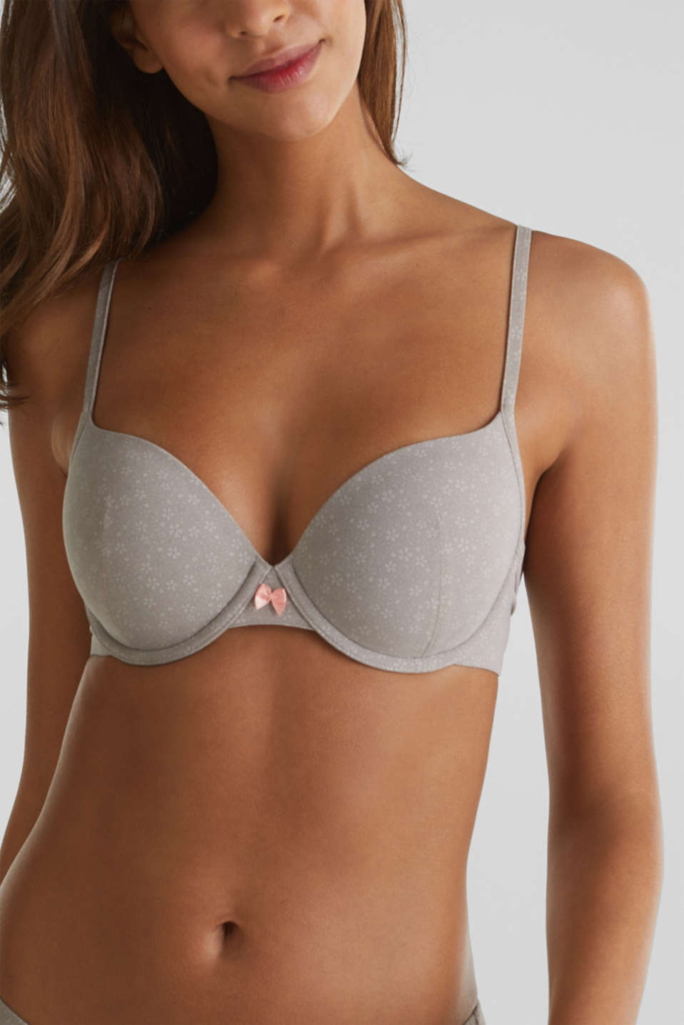 Padded underwire bra with print, TAUPE, detail image number 3