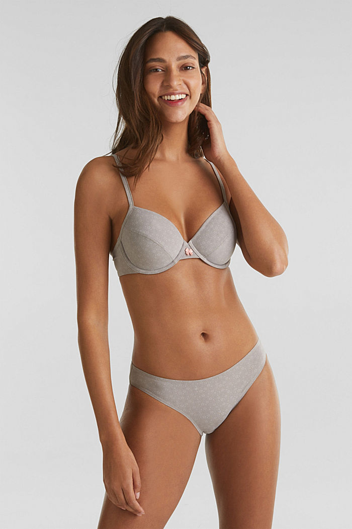 Unpadded underwire bra with a print, TAUPE, detail image number 2
