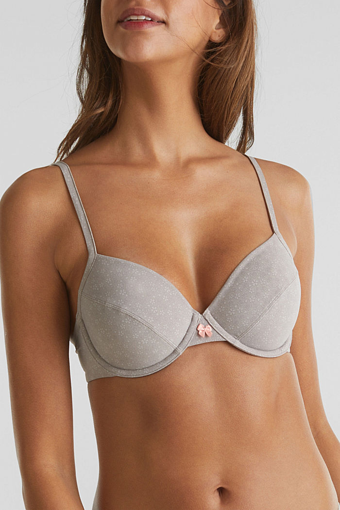 Unpadded underwire bra with a print, TAUPE, detail image number 3
