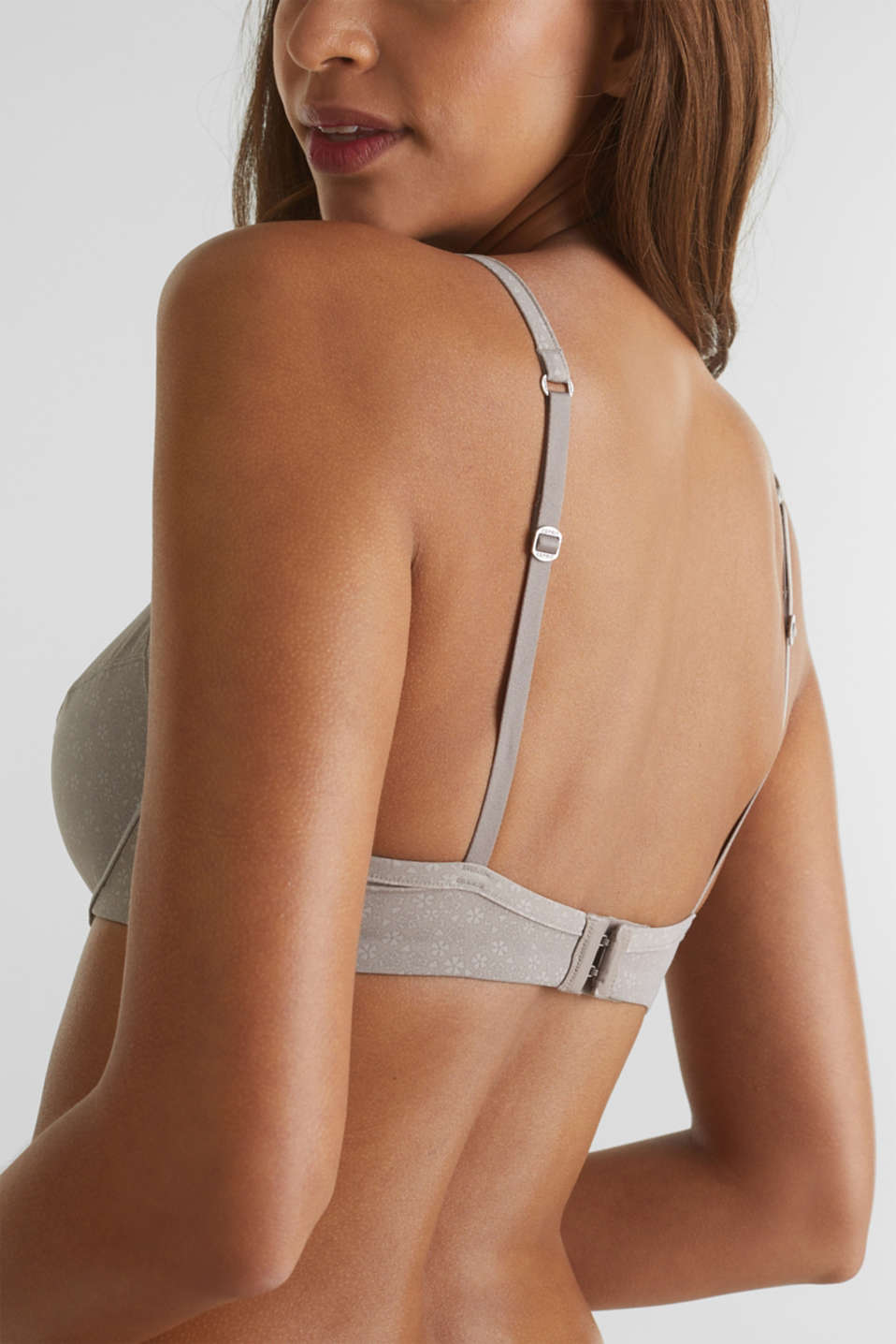 Unpadded underwire bra with a print, TAUPE, detail image number 4