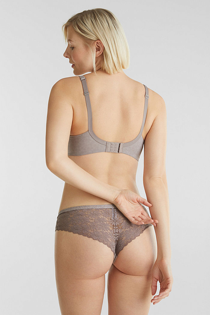 Underwire bra with a floral print, TAUPE, detail image number 1
