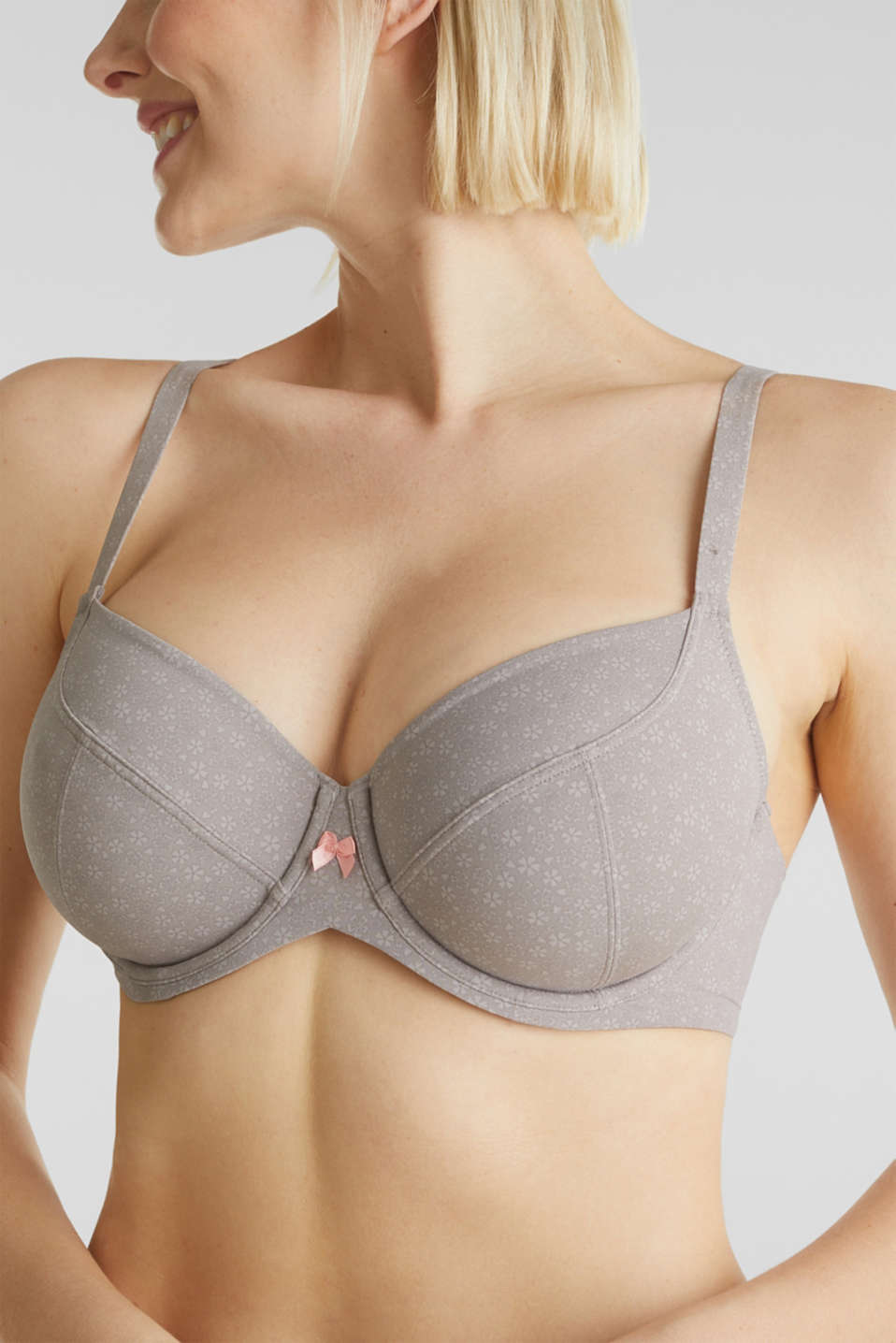 Underwire bra with a floral print, TAUPE, detail image number 2
