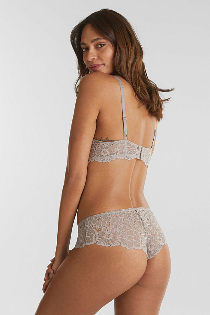 Padded underwire bra in lace, LIGHT TAUPE, detail image number 1
