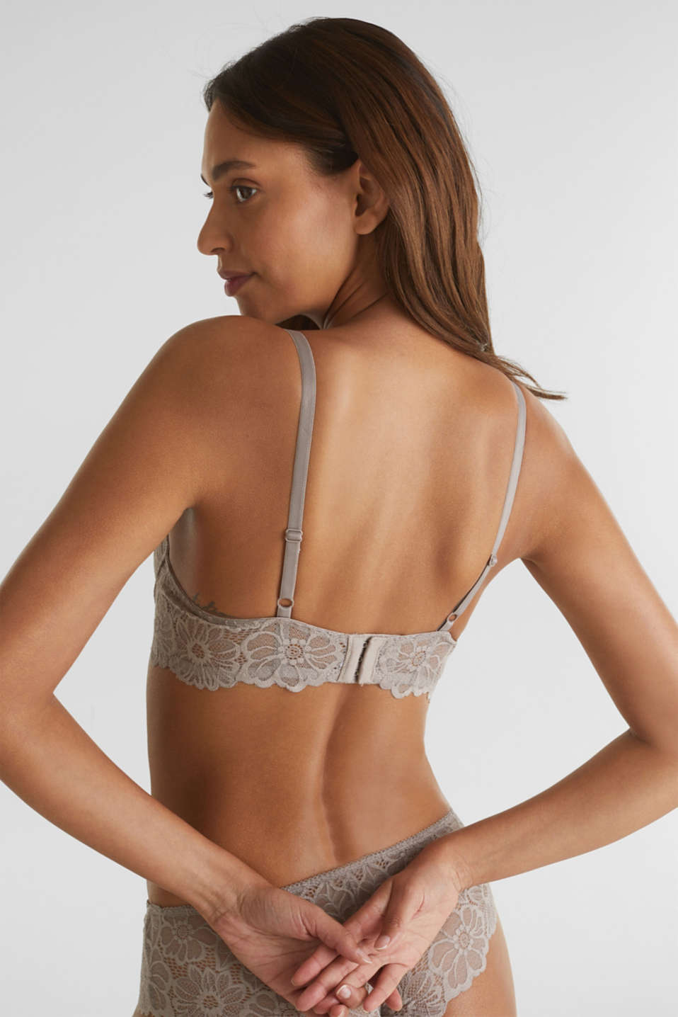 Padded underwire bra in lace, LIGHT TAUPE, detail image number 3