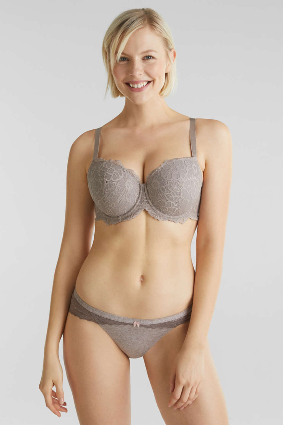 Padded underwire bra in lace, LIGHT TAUPE, detail image number 0