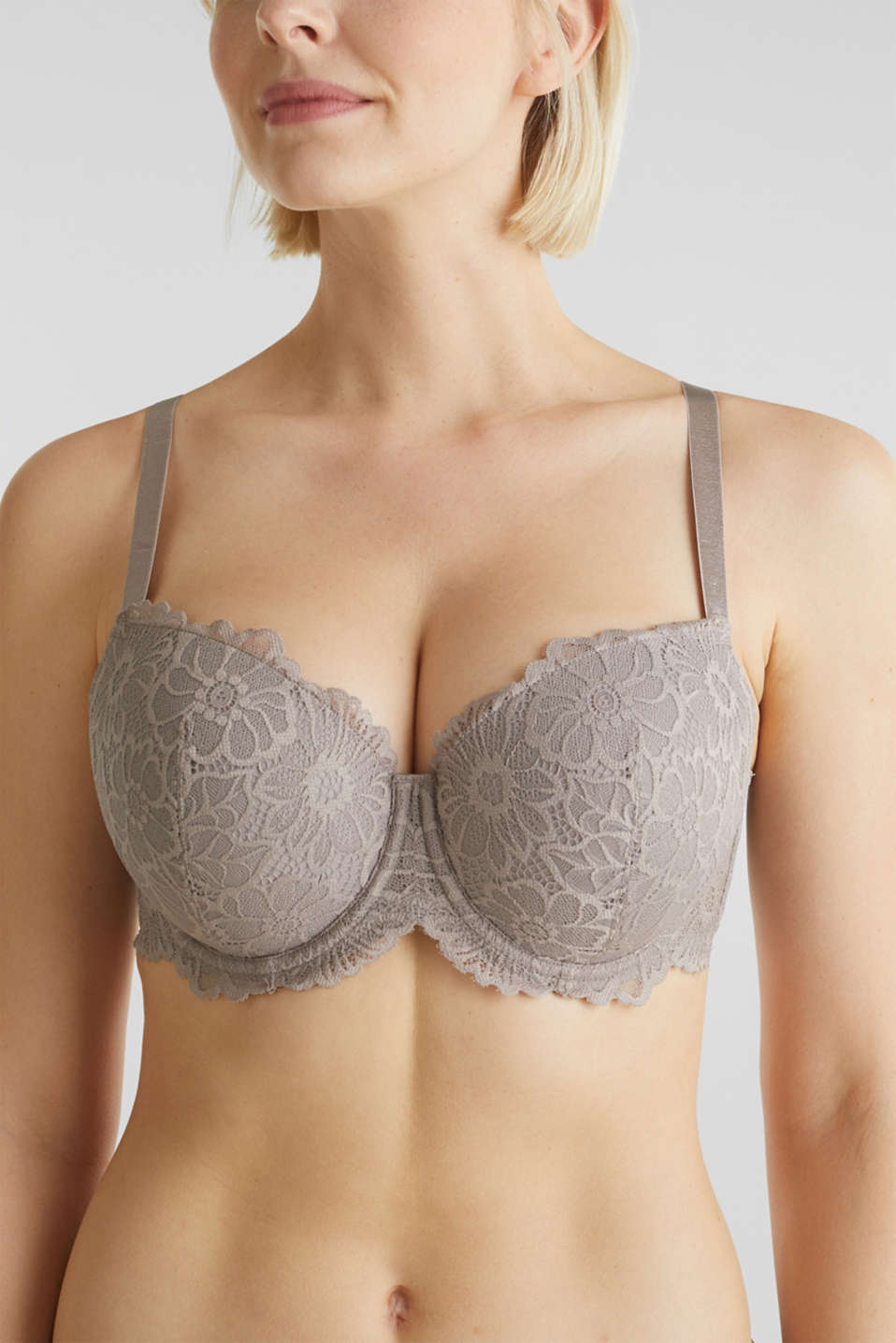 Padded underwire bra in lace, LIGHT TAUPE, detail image number 2
