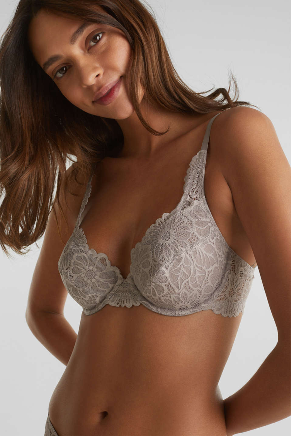 Unpadded underwire lace bra, LIGHT TAUPE, detail image number 0