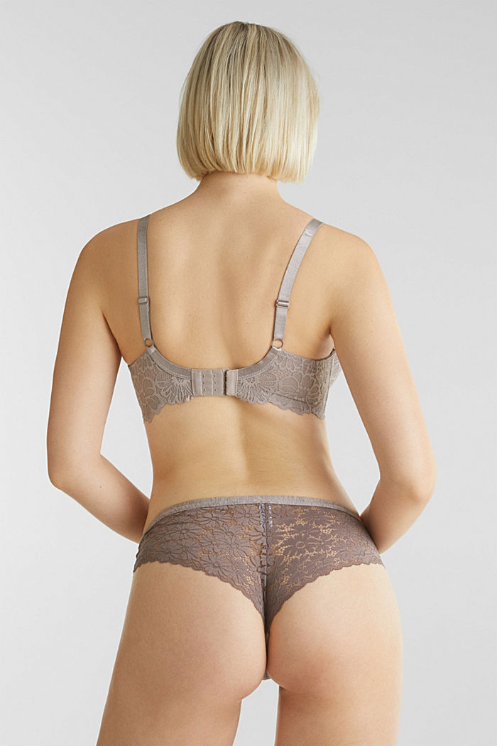 Underwire bra in floral lace, LIGHT TAUPE, detail image number 1