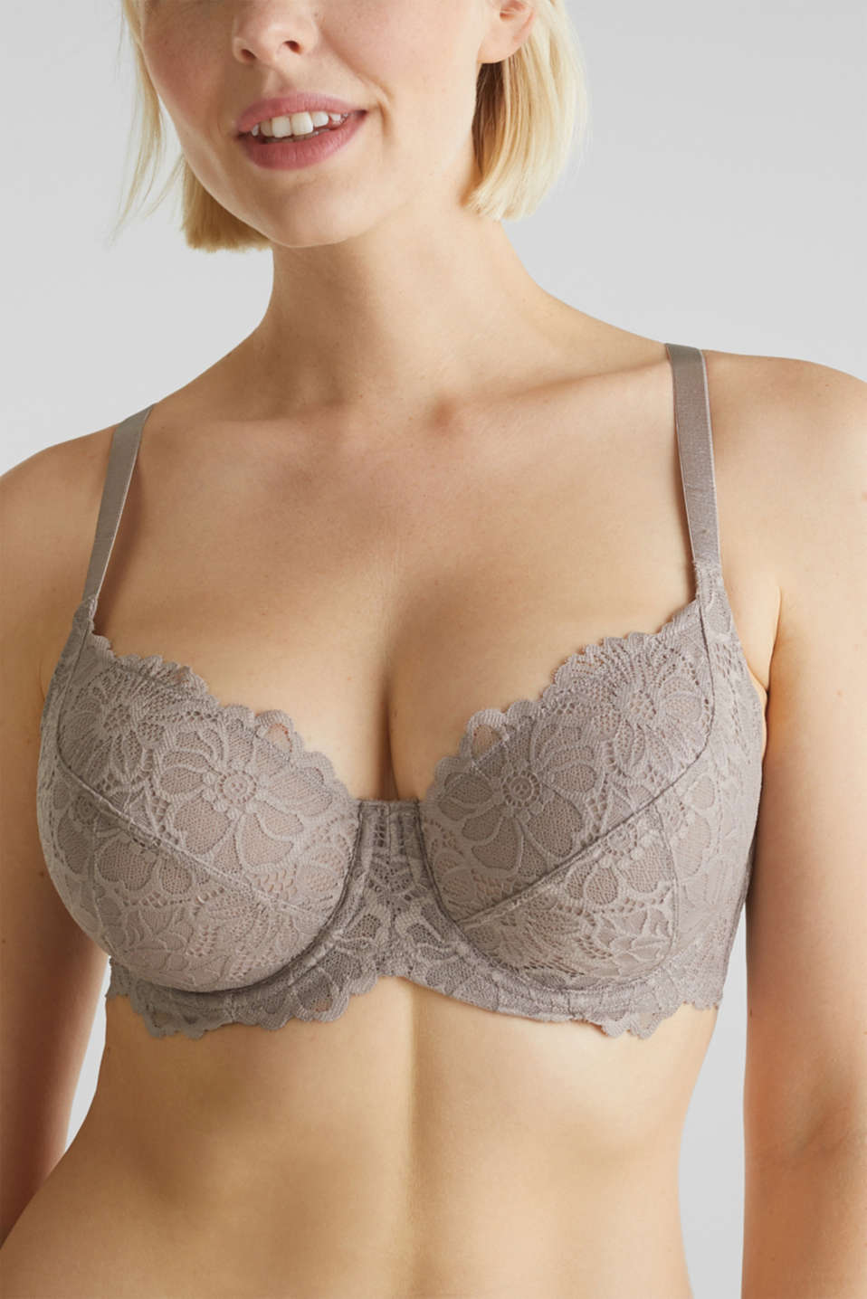 Underwire bra in floral lace, LIGHT TAUPE, detail image number 2