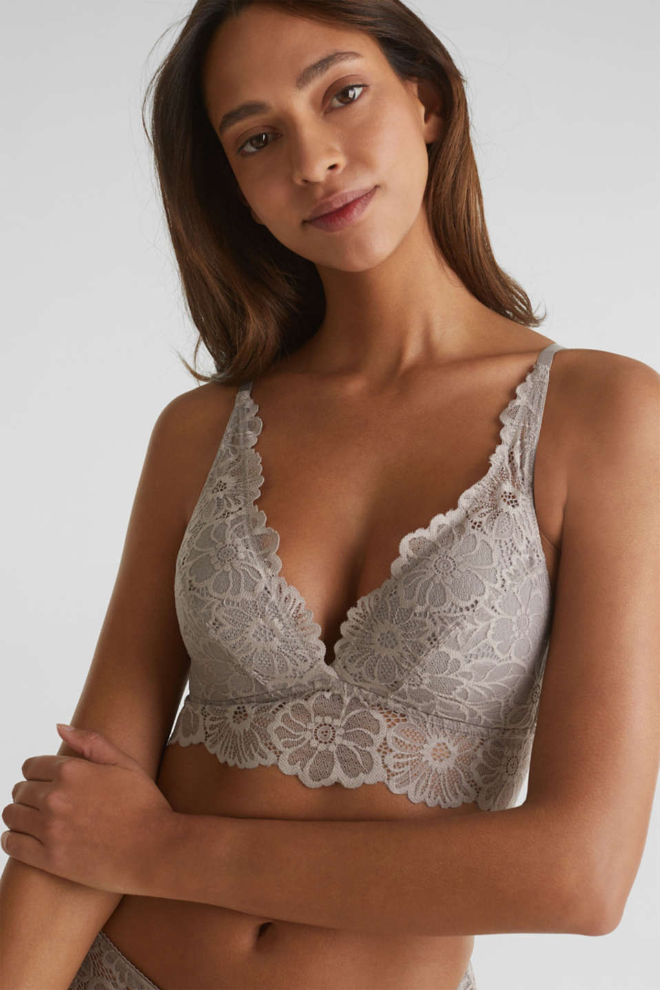 Padded non-wired lace bra, LIGHT TAUPE, detail image number 0