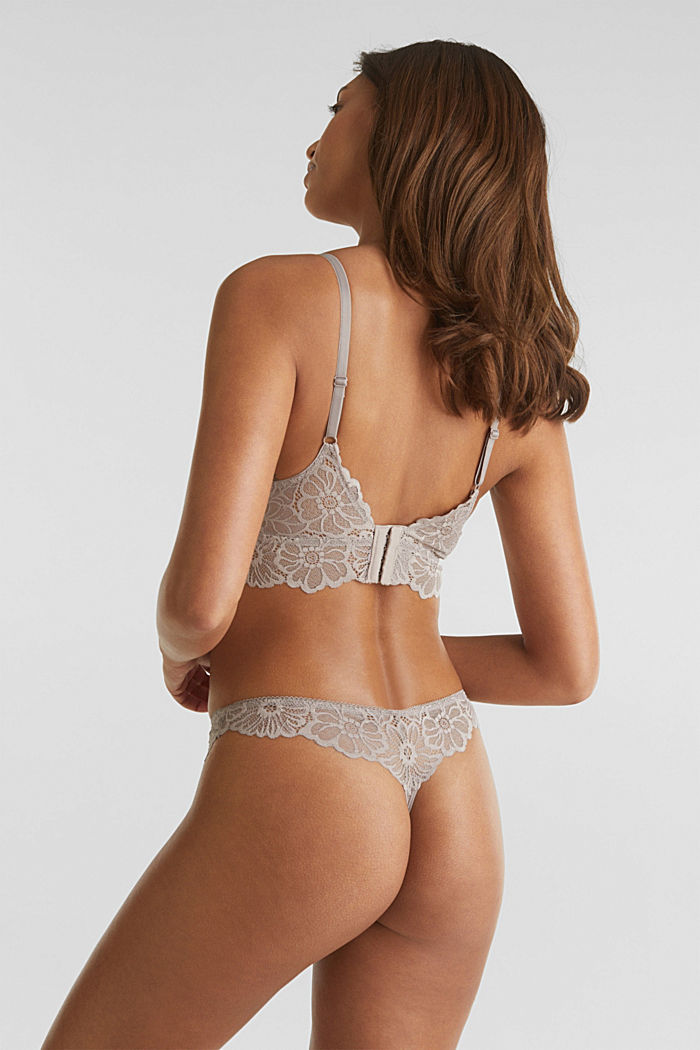 Padded non-wired lace bra, LIGHT TAUPE, detail image number 1