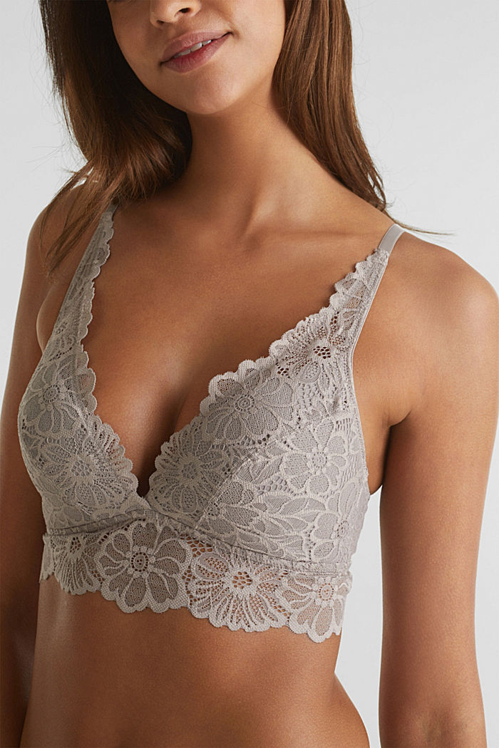 Padded non-wired lace bra, LIGHT TAUPE, detail image number 2