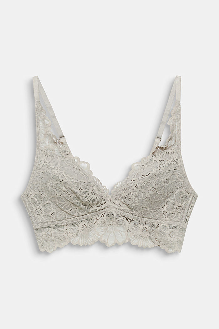 Padded non-wired lace bra, LIGHT TAUPE, detail image number 3