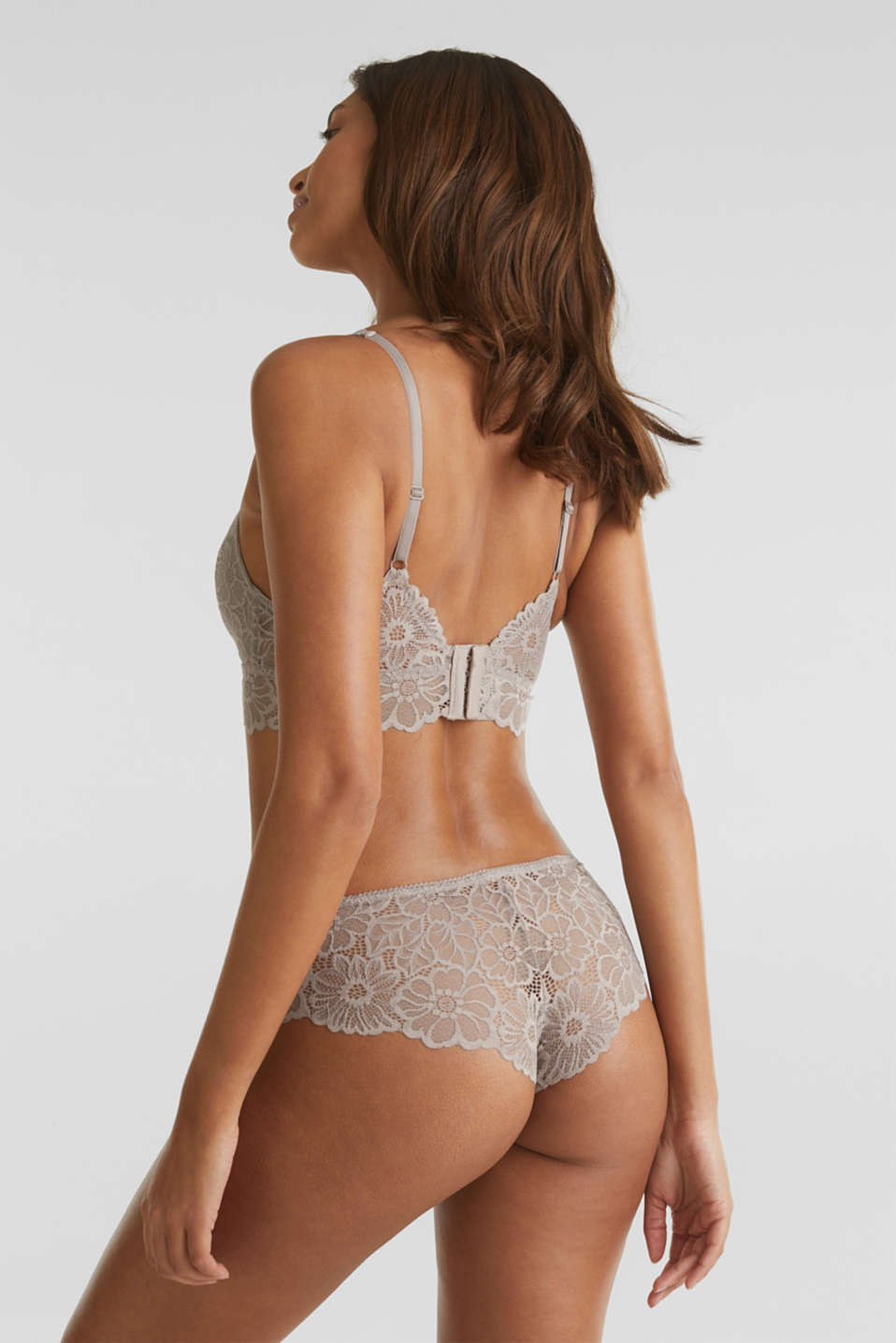Non-wired lace bralet, LIGHT TAUPE, detail image number 1
