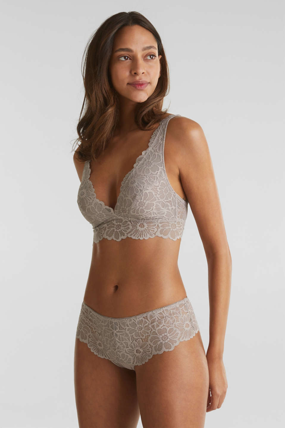 Non-wired lace bralet, LIGHT TAUPE, detail image number 2
