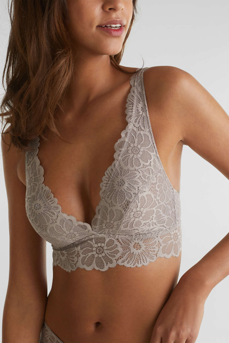 Non-wired lace bralet, LIGHT TAUPE, detail image number 3