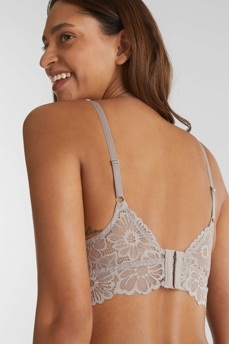 Non-wired lace bralet, LIGHT TAUPE, detail image number 5
