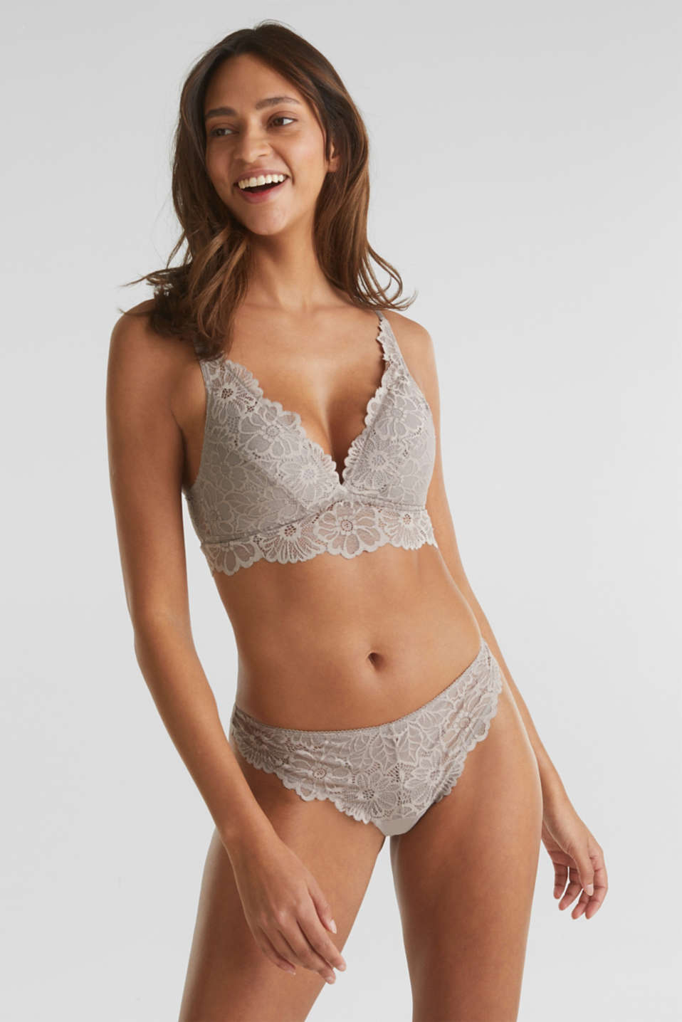 Lace hipster thong, LIGHT TAUPE, detail image number 0