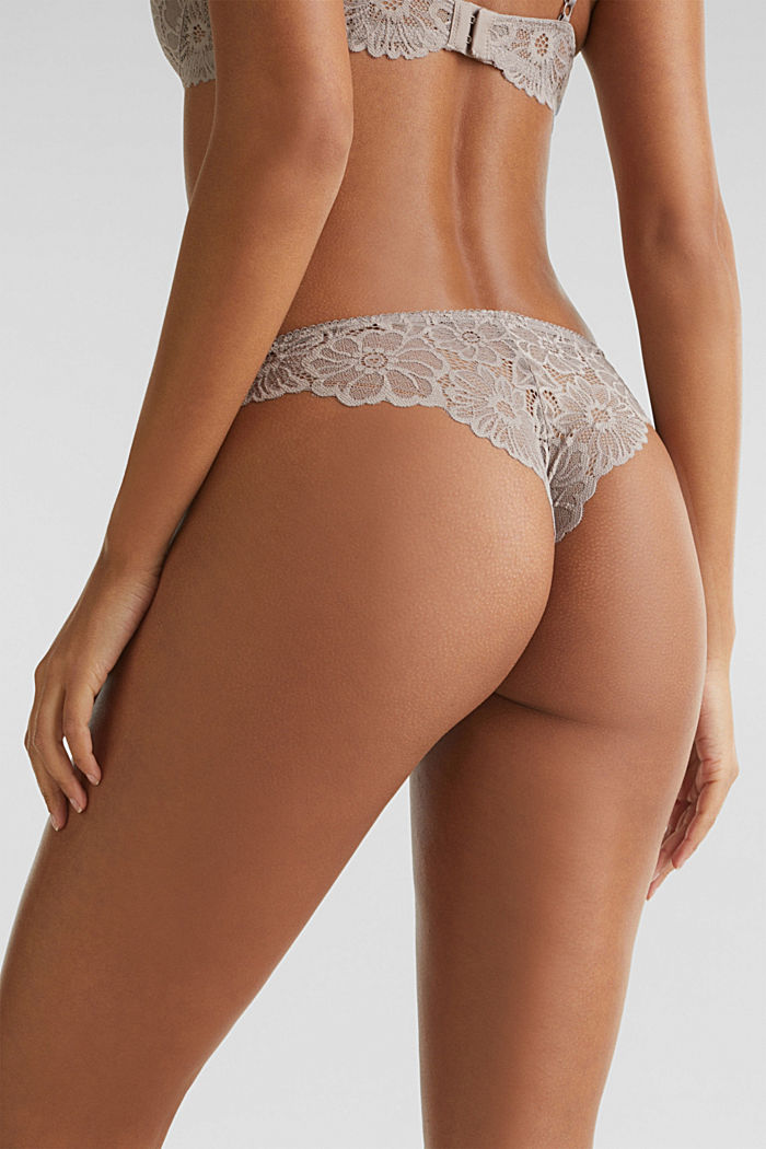 Slip a vita bassa in pizzo, LIGHT TAUPE, detail image number 1