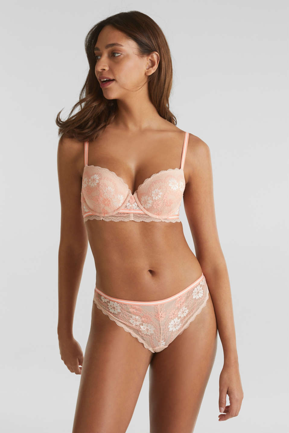 Padded underwire bra in two-tone lace, NUDE, detail image number 2