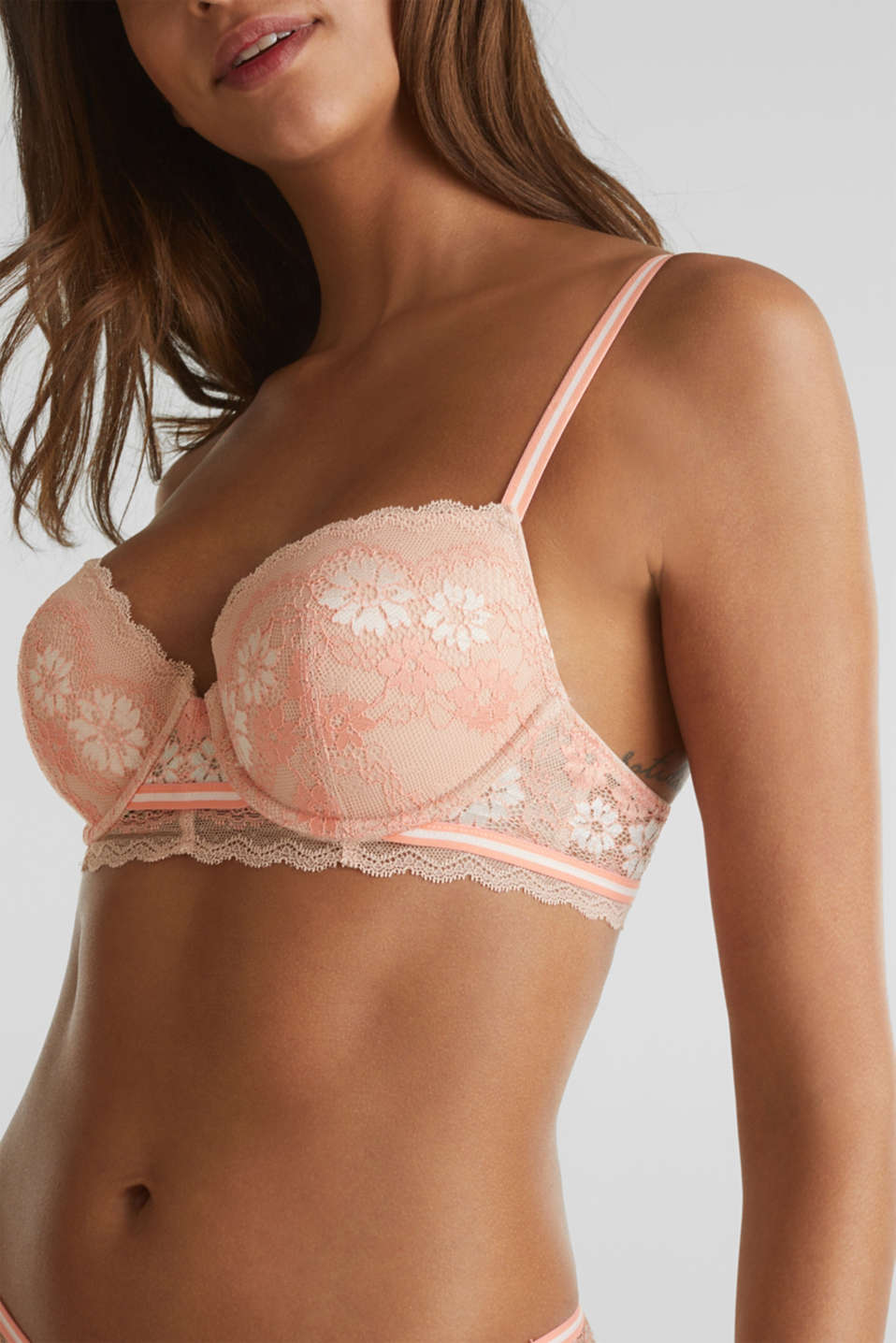 Padded underwire bra in two-tone lace, NUDE, detail image number 3
