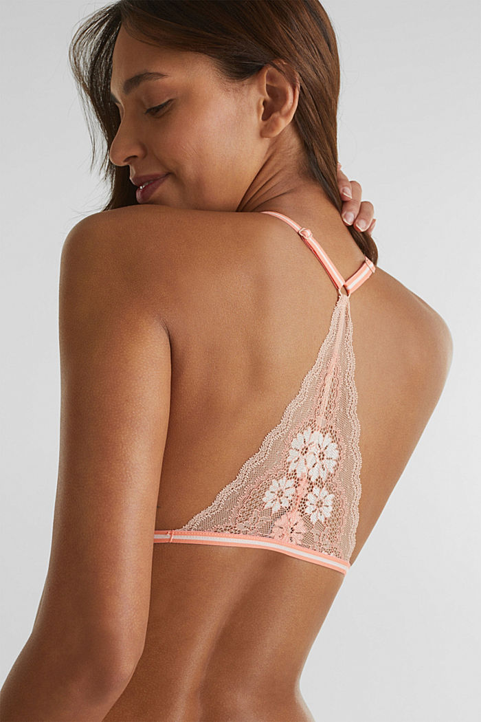 Non-wired top made of two-tone lace, NUDE, detail image number 4