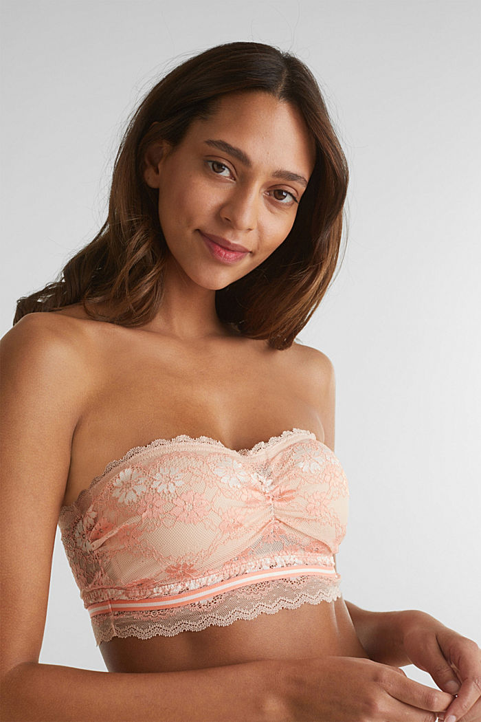 Bandeau top made of two-tone lace