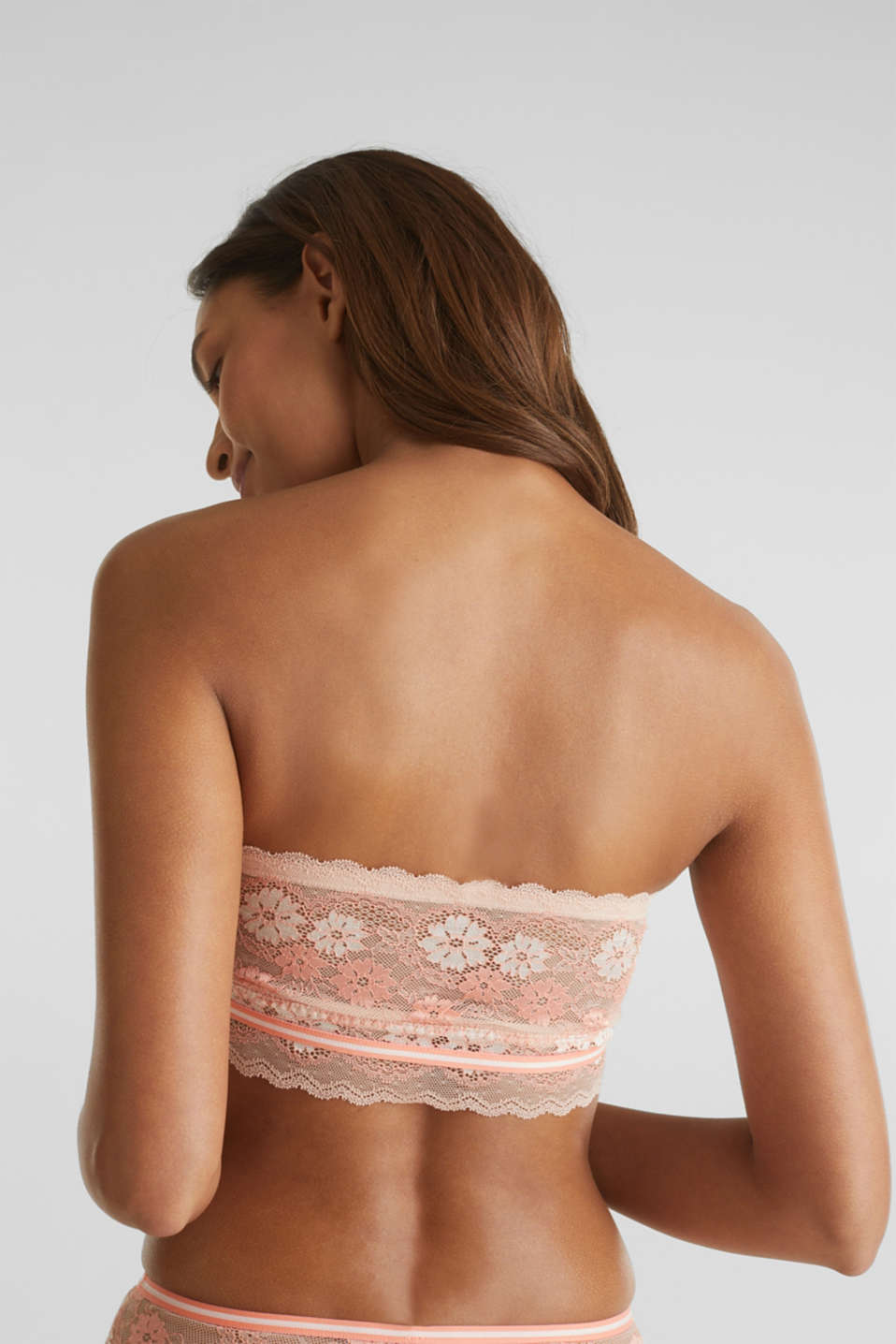 Bandeau top made of two-tone lace, NUDE, detail image number 1