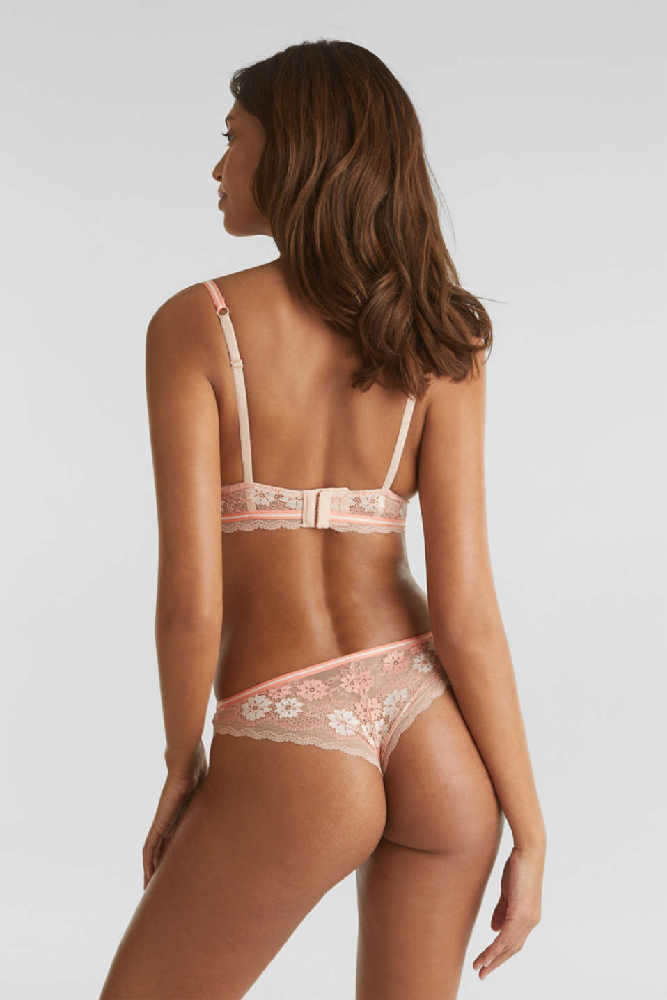 Hipster thong in two-tone lace, NUDE, detail image number 2