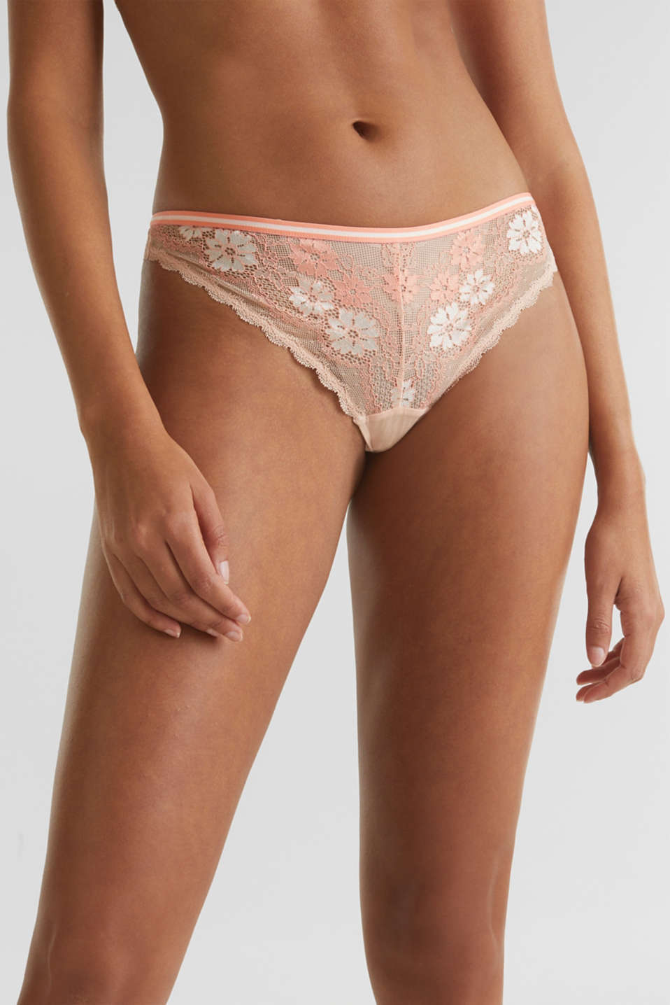 Hipster thong in two-tone lace, NUDE, detail image number 1