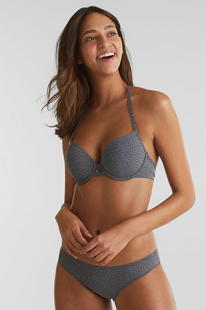 Padded underwire bra with a leaf print