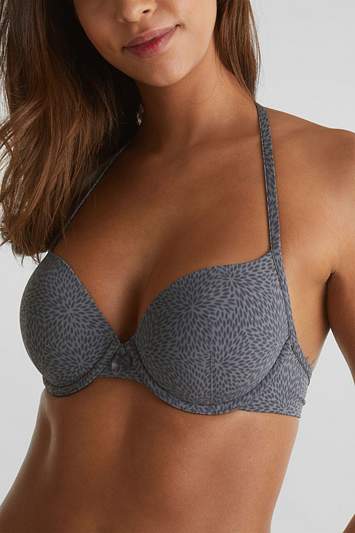 Padded underwire bra with a leaf print, ANTHRACITE, detail image number 2