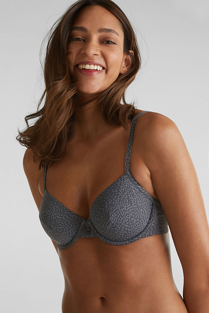 Unpadded underwire bra with a leaf print