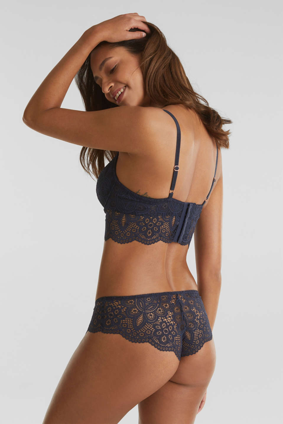 Padded underwire bra with a wide trim, NAVY 2, detail image number 1