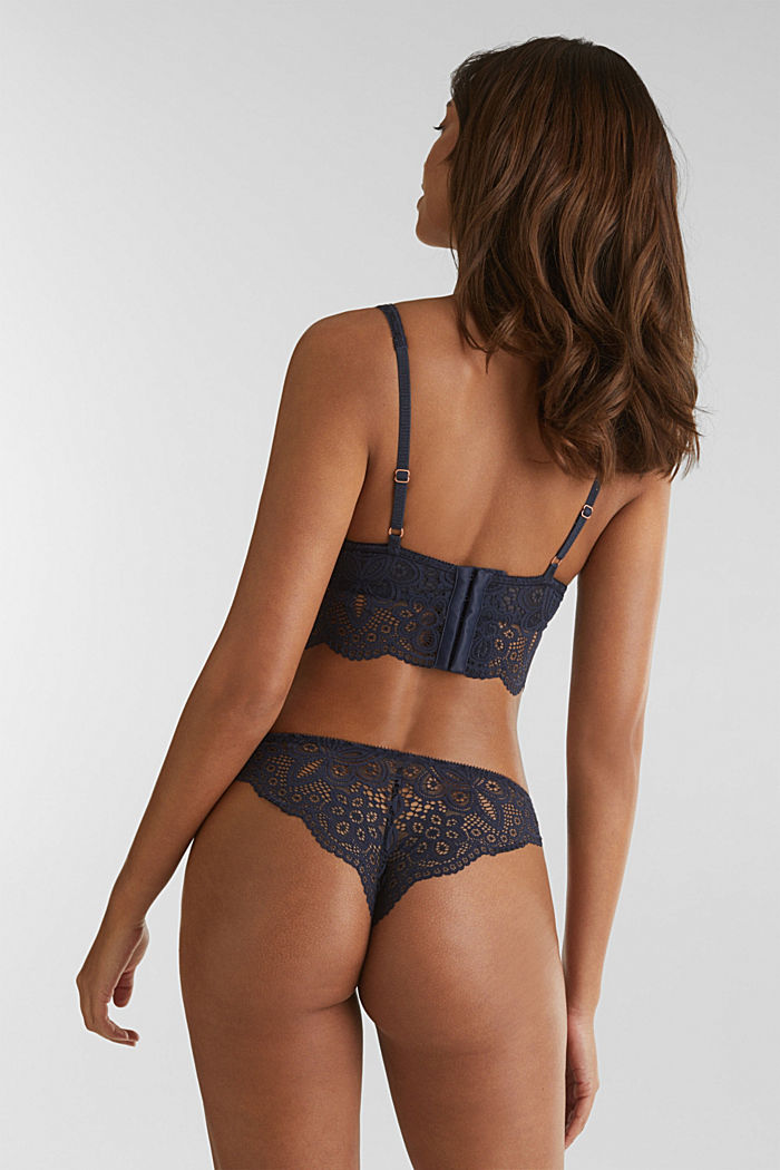 Lace bralet with underwiring, NAVY, detail image number 1