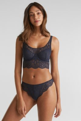 Lace bralet with underwiring, NAVY, detail