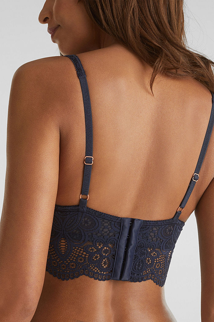 Lace bralet with underwiring, NAVY, detail image number 4