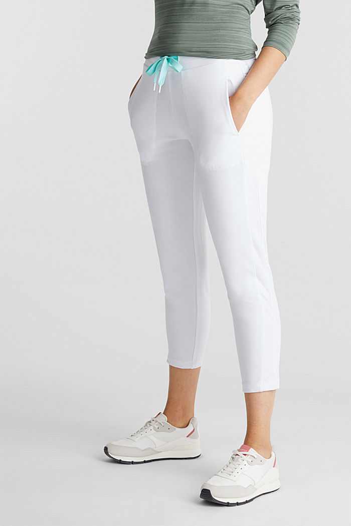 Ankle-length jersey trousers with mesh details, WHITE, detail image number 0
