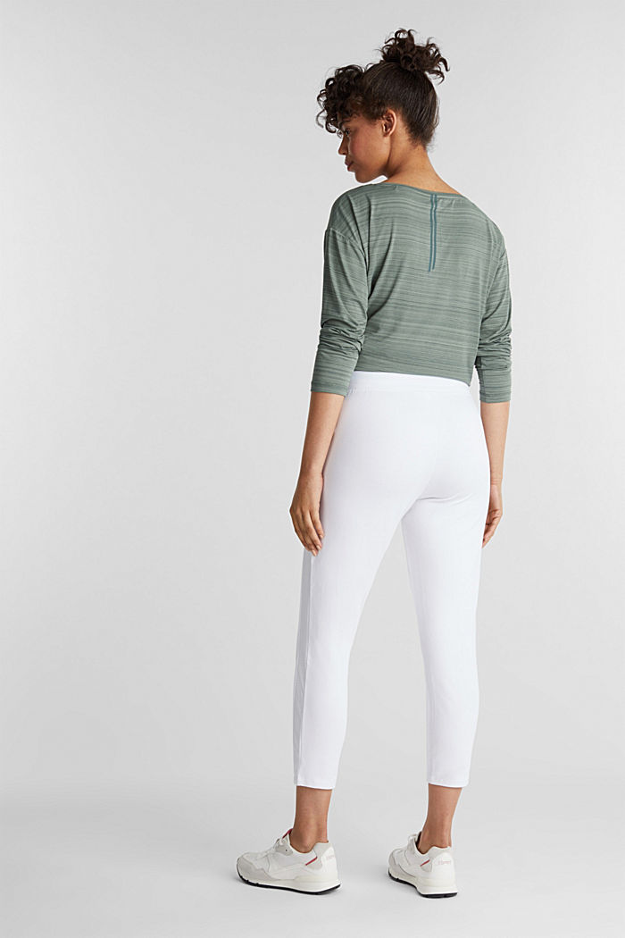 Ankle-length jersey trousers with mesh details, WHITE, detail image number 3